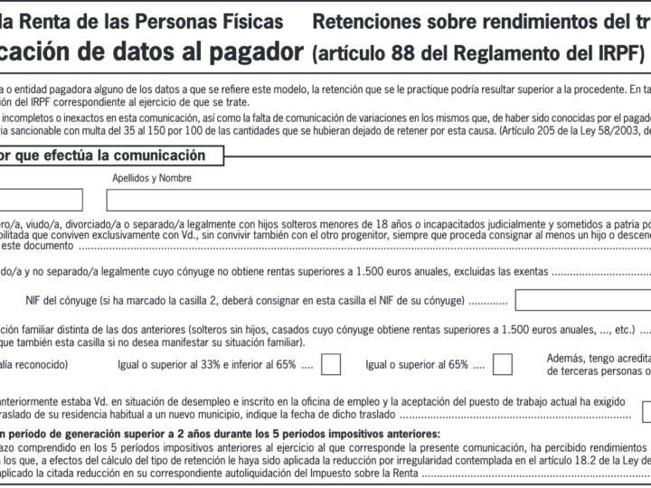 Modelo 145 y retenciones del IRPF