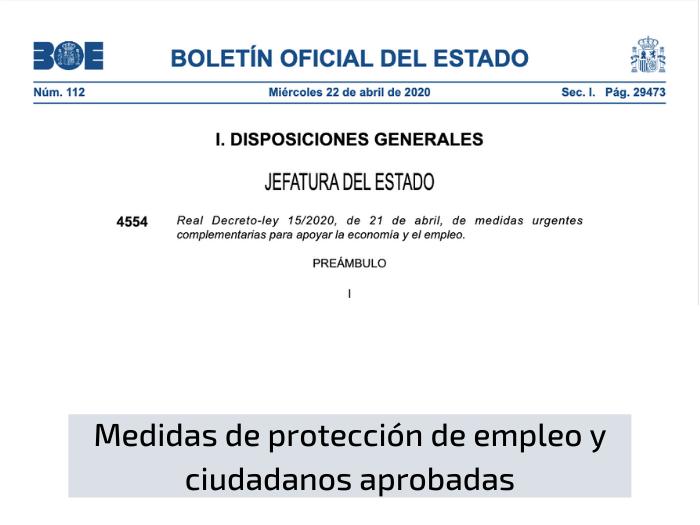 Medidas de protección de empleo y ciudadanos aprobadas en el RDL 15/2020