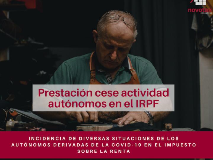 Incidencia del cese de actividad de autónomos en el IRPF